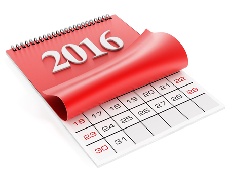 calendar isolated: 2016 calendar isolated on white background Stock Photo
