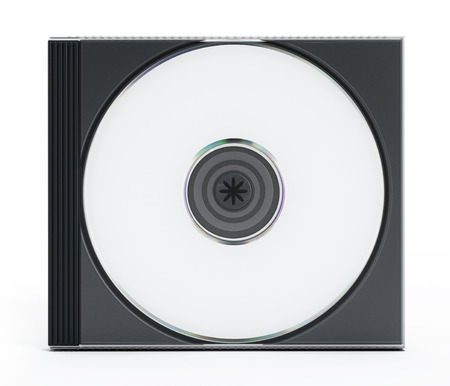 jewel case: CD or DVD case with blank media isolated on white background.