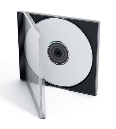 cd case: CD or DVD case with blank media isolated on white background.