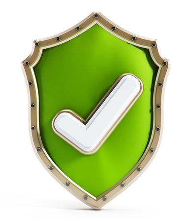 escudo: Escudo verde con el icono de marca aisladas sobre fondo blanco