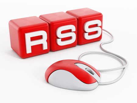 syndication: Red cubes with RSS letters connected to computer mouse isolated on white background