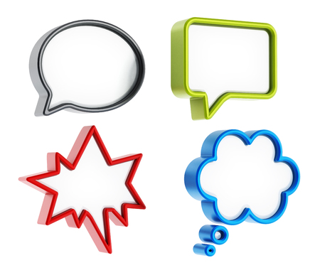 thought clouds: Speech balloons with various shapes isolated on white background