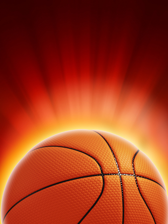Glowing basketball on red background Archivio Fotografico