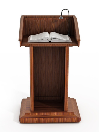 lectern: Wooden lectern isolated on white background