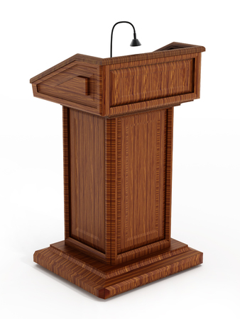 press conference: Wooden lectern isolated on white background