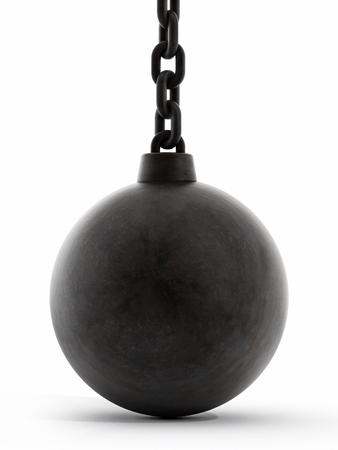 Black wrecking ball isolated on white background
