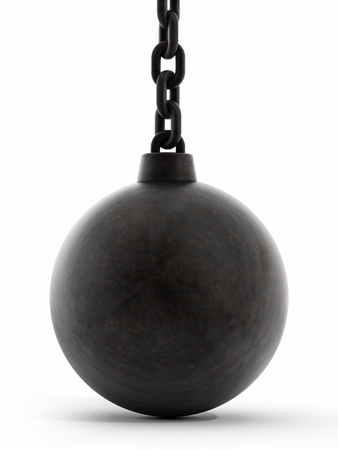 ball and chain: Black wrecking ball isolated on white background