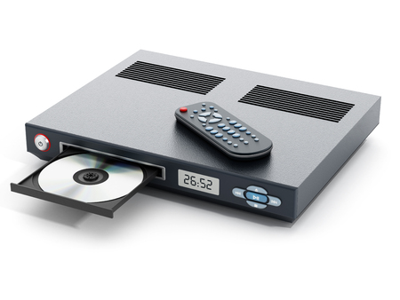 cd player: Blu-ray player with open disc tray and remote controller