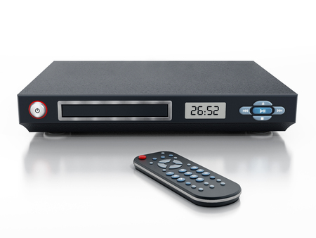 bluray: Blu-ray player with closed disc tray and remote controller