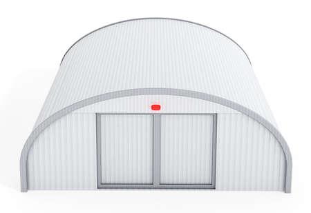 hangar: White airplane hangar isolated on white background Stock Photo