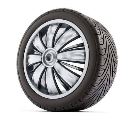 Car wheel and tyre isolated on white background