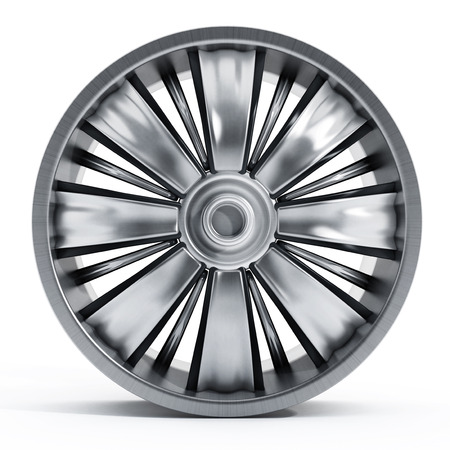 hubcap: Car wheel isolated on white background
