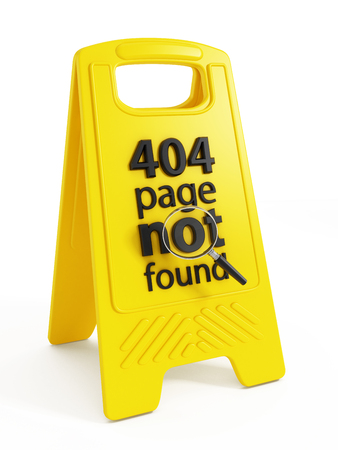 warnings: 404 page not found text on warning sign