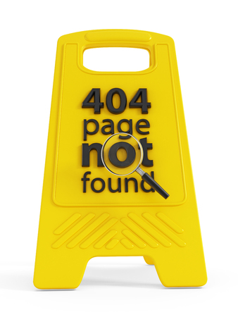 not found: 404 page not found text on warning sign