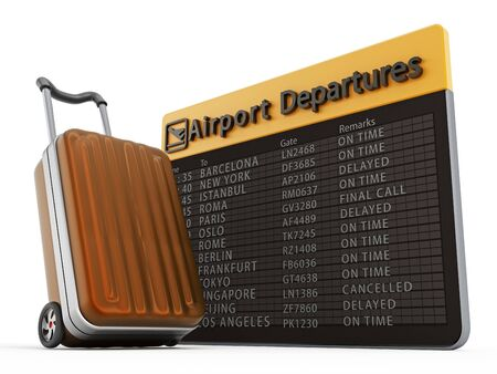 departure: Airport departure board and suitcase isolated on white background