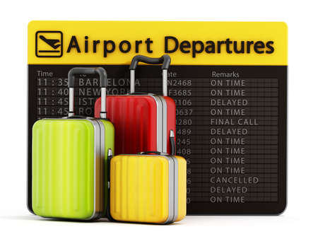 departure: Airport departure board and suitcases isolated on white background Stock Photo