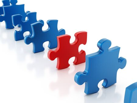 red puzzle piece: Red puzzle piece stands out among blue puzzle parts Stock Photo