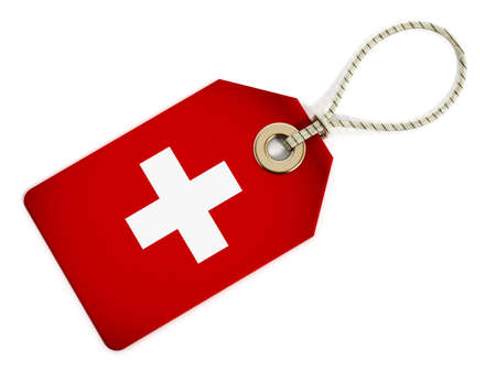 origin: Swiss flag on isolated tag. Stock Photo