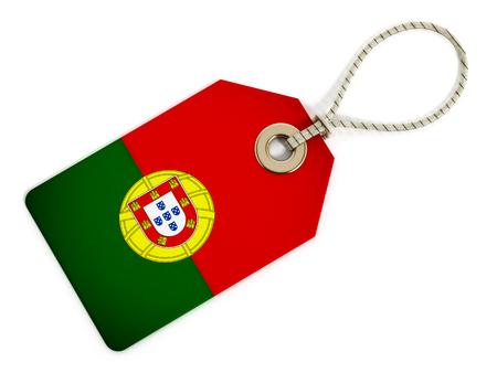 drapeau portugal: Drapeau du Portugal sur l'étiquette isolé.