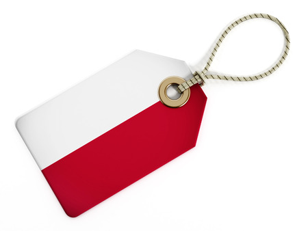 price tag: Poland flag on isolated tag.