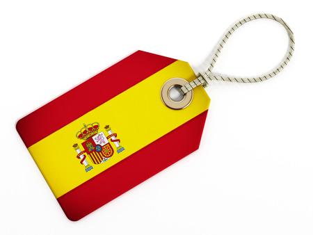 spanish flag: Spanish flag on isolated tag.