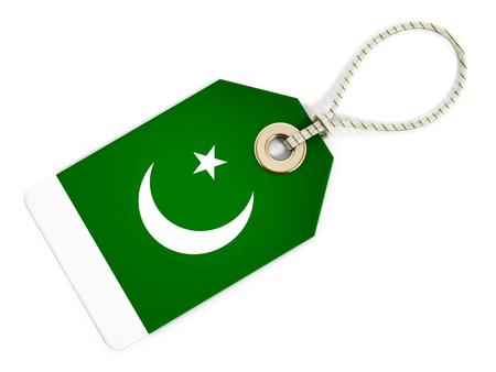 pakistani: Pakistani flag on isolated tag.