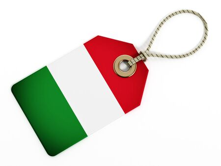 made in italy: Italian flag on isolated tag.