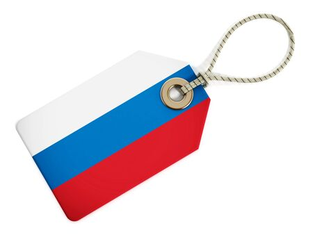 russian flag: Russian flag on isolated tag. Stock Photo