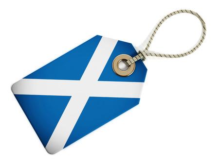 scottish flag: bandiera scozzese su etichetta isolato.