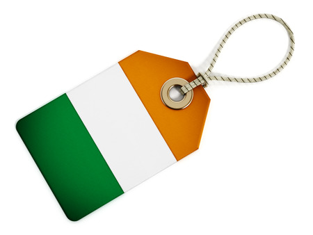 origin: Ireland flag on isolated tag.