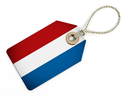 made in netherlands: Dutch flag on isolated tag.