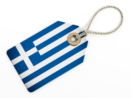 made in greece: Greek flag on isolated tag. Stock Photo