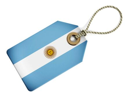 argentina flag: Argentina flag on isolated tag. Stock Photo
