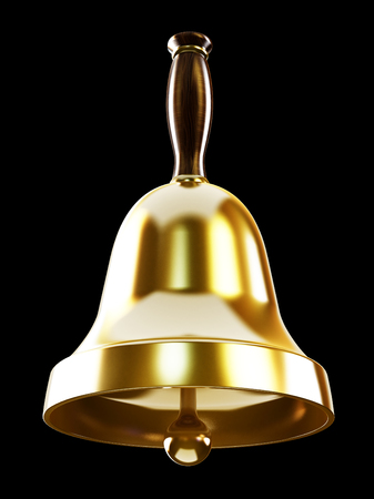 handbell: Gold school bell isolated on black background