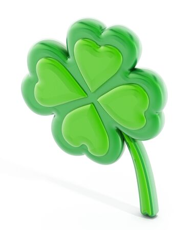 four leaf: Four leaf clover isolated on white background Stock Photo