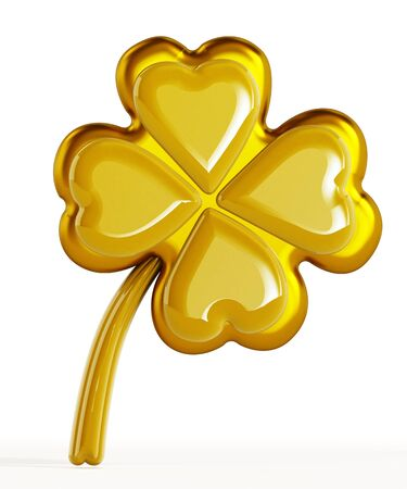 shamrock: Golden four leaf clover isolated on white background Stock Photo