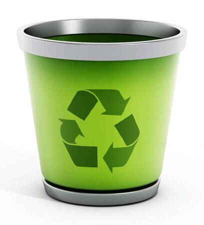 waste 3d: Recycle bin isolated on white background.