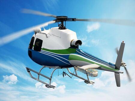 helicopter rescue: Helicopter flying through the sky