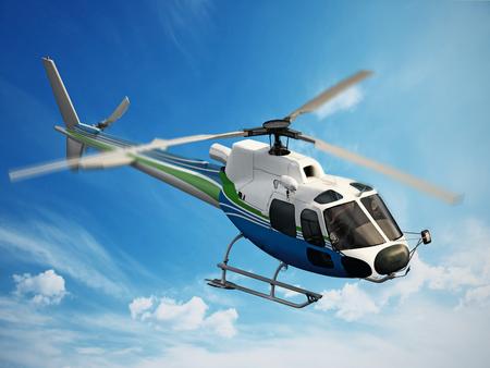 空を飛行するヘリコプター
