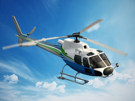 Helicopter flying through the sky