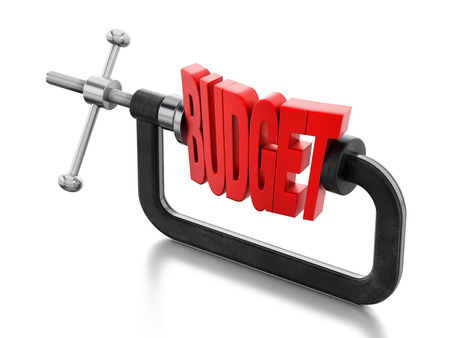 Red budget word clamped inside the vice.