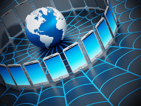 networked: Global computer network with a spider web