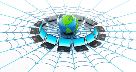 networked: Global computer network with a spider web isolated on white background Stock Photo