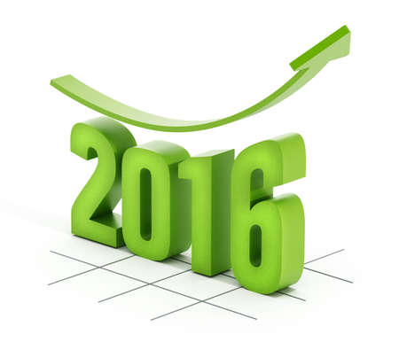 rising: Green rising arrow on number 2016