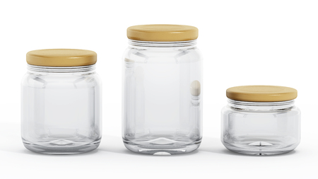 glass jars: Glass jars with yellow lids isolated on white background