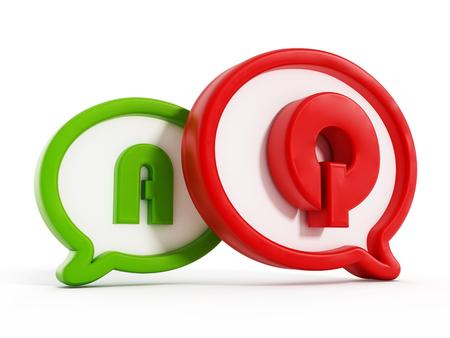 control de calidad: Q y A letras que simbolizan Preguntas y respuestas dentro globos de texto