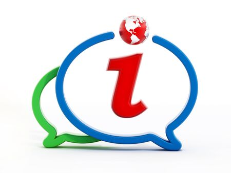 inform information: Letter i inside speech balloons isolated on white background