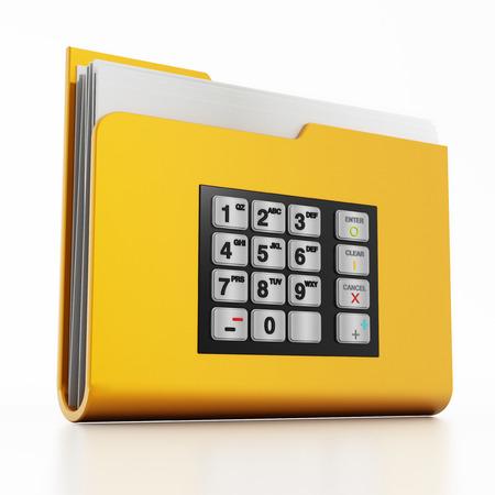encrypted: ATM keypad on folder icon with documents isolated on white background