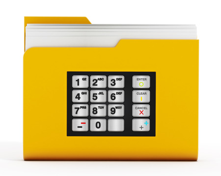 folder with documents: ATM keypad on folder icon with documents isolated on white background