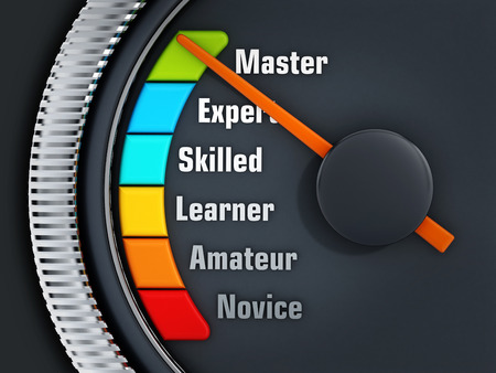 dials: Orange needle on Master level on experience levels speedmeter Stock Photo